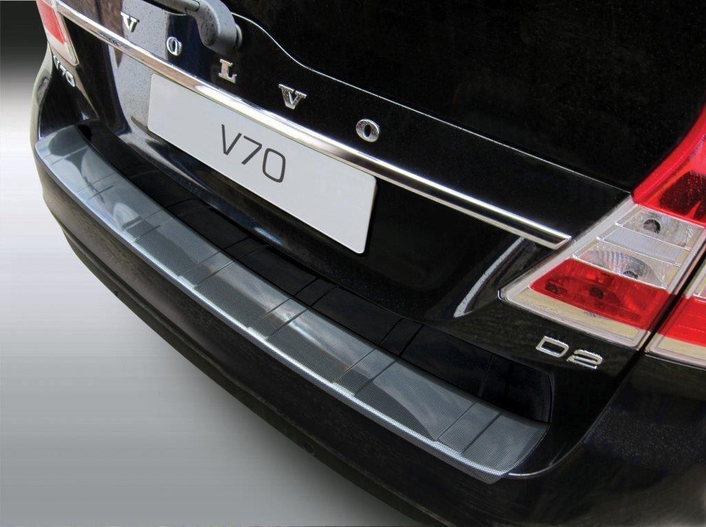 ABS Achterbumper beschermlijst Volvo V70 6/2013- (excl. XC70) 'Ribbed' Zwart | GR RBP761