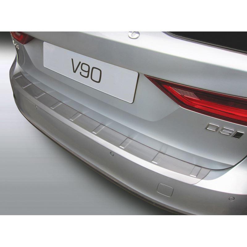 ABS Achterbumper beschermlijst Volvo V90 9/2016- 'Brushed Alu' Look 'Ribbed' | GR RBP938B