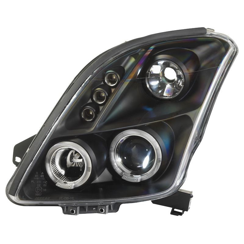 Koplampset Suzuki Swift 05- zwart + HaloRingen | DL SZK01J