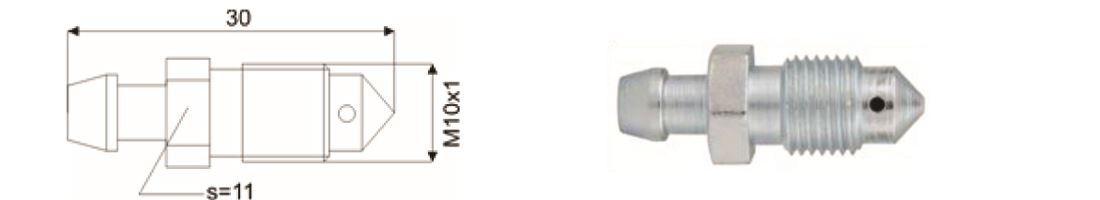 Ontluchtingsnippel M10x1, lengte:30,0mm   QNR00039