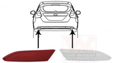 Reflector links Ford Focus 02/11-14 4-drs./5d/combi
